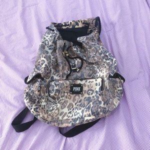 VS PINK cheetah print sequin backpack